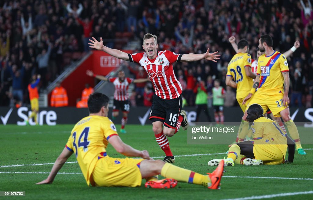 James Ward-Prowse of Southampton celebrates scoring his sides third goal during the Premier League match between Southampton and Crystal Palace at St Mary's Stadium on April 5, 2017 in Southampton, England.