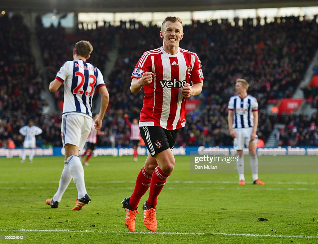 James Ward-Prowse of Southampton celebrates scoring his team's second goal during the Barclays Premier League match between Southampton and West Bromwich Albion at St. Mary's Stadium on January 16, 2016 in Southampton, England.