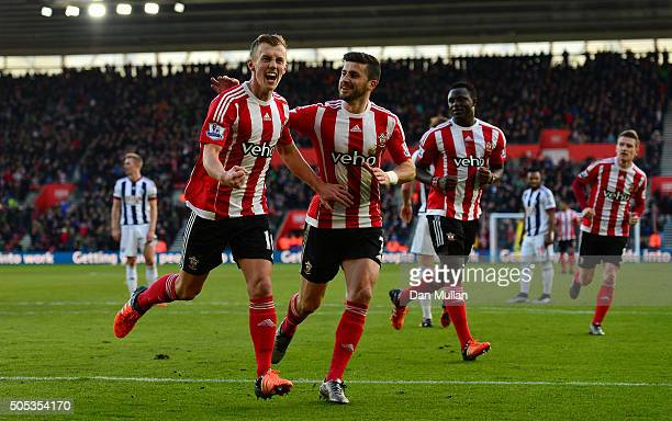 James WardProwse of Southampton celebrates scoring his team's second goal during the Barclays Premier League match between Southampton and West...