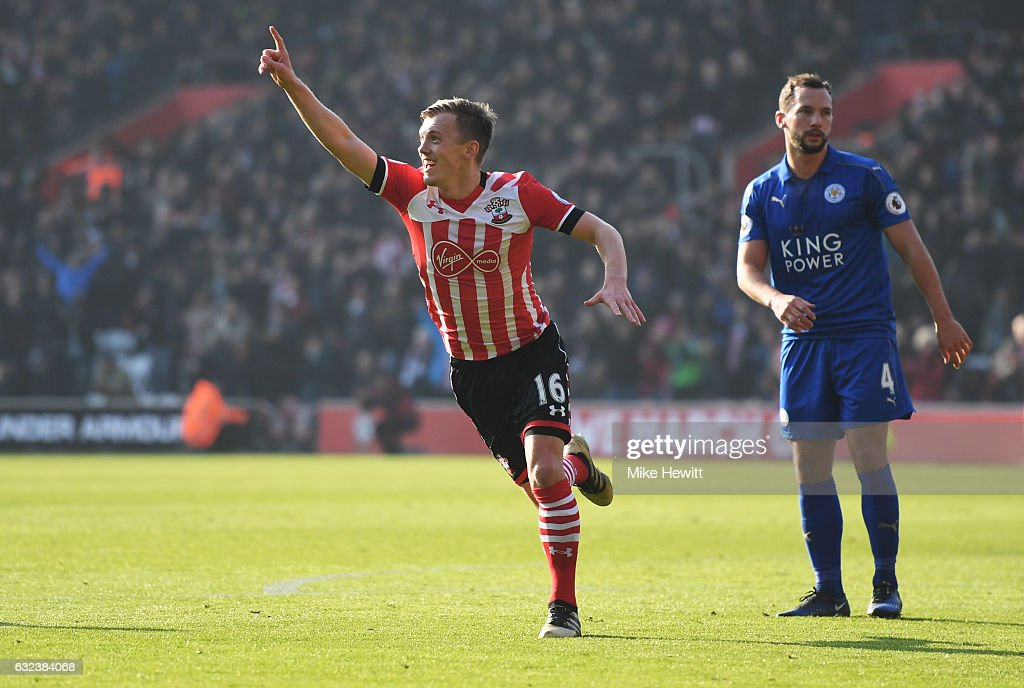 James Ward-Prowse of Southampton celebrates scoring the opening goal during the Premier League match between Southampton and Leicester City at St Mary's Stadium on January 22, 2017 in Southampton, England.