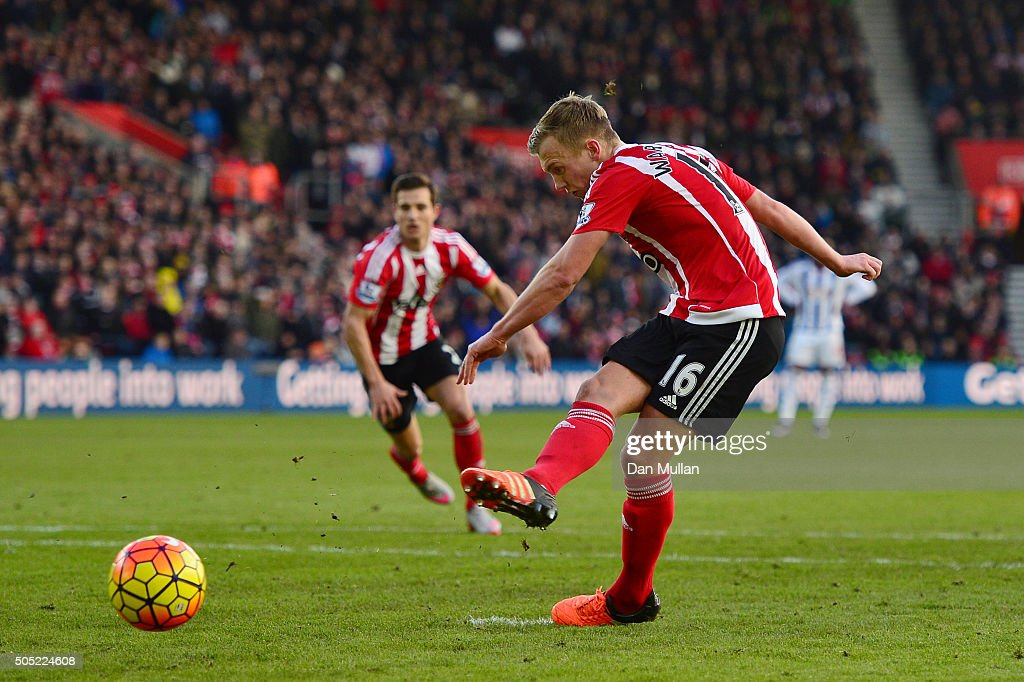 James Ward-Prowse of Southampton converts the penalty to score his team's second goal during the Barclays Premier League match between Southampton and West Bromwich Albion at St. Mary's Stadium on January 16, 2016 in Southampton, England.