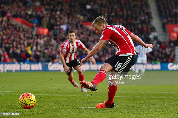 James WardProwse of Southampton converts the penalty to score his team's second goal during the Barclays Premier League match between Southampton and...