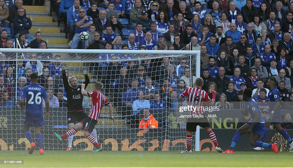 James Ward-Prowse of Southampton misses this chance to score during the Premier League match between Leicester City and Southampton at The King Power Stadium on October 2, 2016 in Leicester, England.