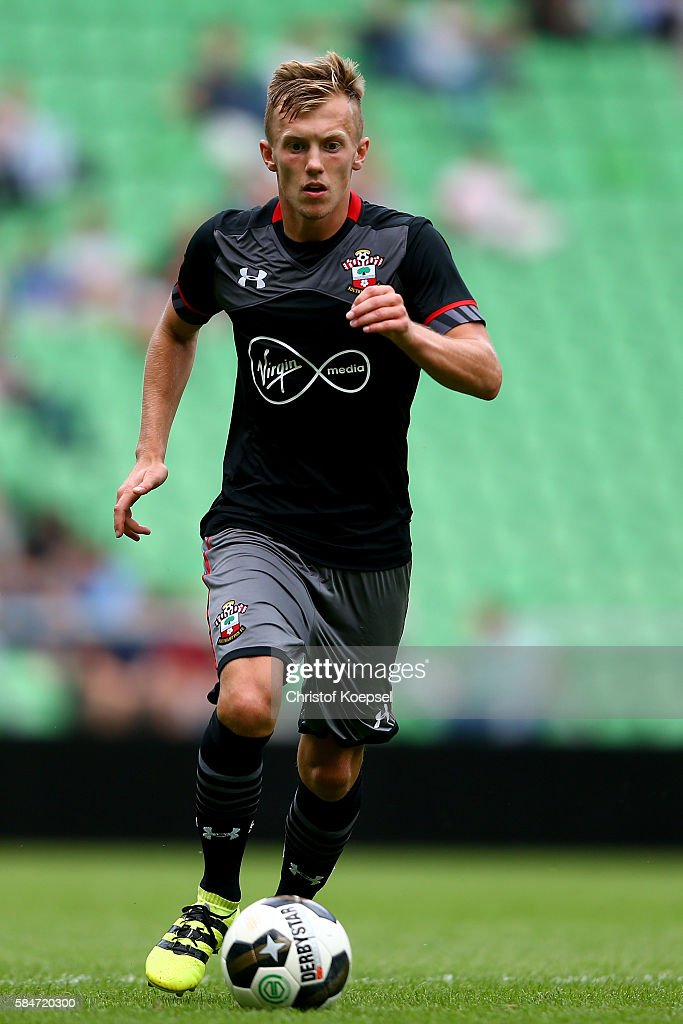 James WardProwse of Southampton runs with the ball during the friendly match between FC Groningen an FC Southampton at Euroborg Stadium on July 30...