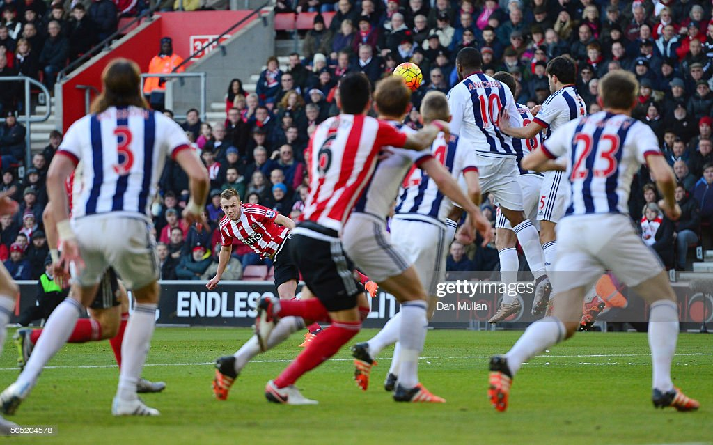 James Ward-Prowse of Southampton scores his team's first goal during the Barclays Premier League match between Southampton and West Bromwich Albion at St. Mary's Stadium on January 16, 2016 in Southampton, England.
