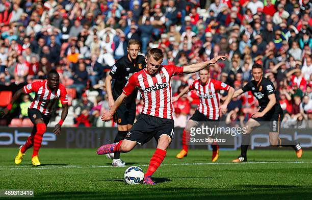 James WardProwse of Southampton takes a penalty during the Barclays Premier League match between Southampton and Hull City at St Mary's Stadium on...