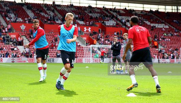 James WardProwse of Southampton warms up during the Premier League match between Southampton and Swansea City at St Mary's Stadium on August 12 2017...