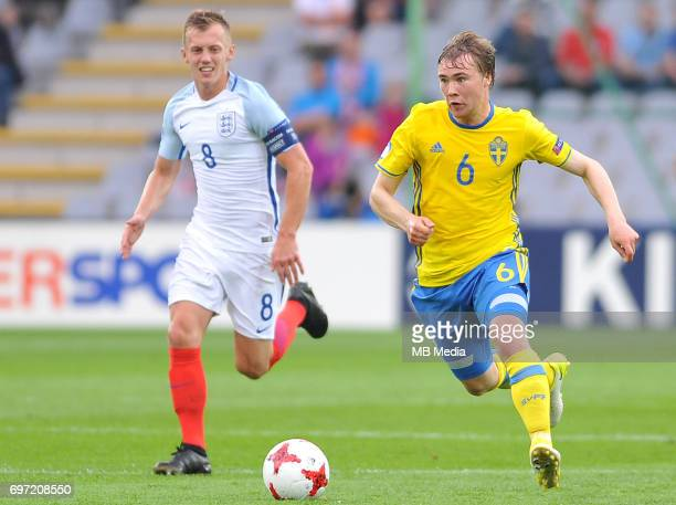 James WardProwse Simon Tibbling during the UEFA European Under21 match between Sweden and England at Kolporter Arena on June 16 2017 in Kielce Poland