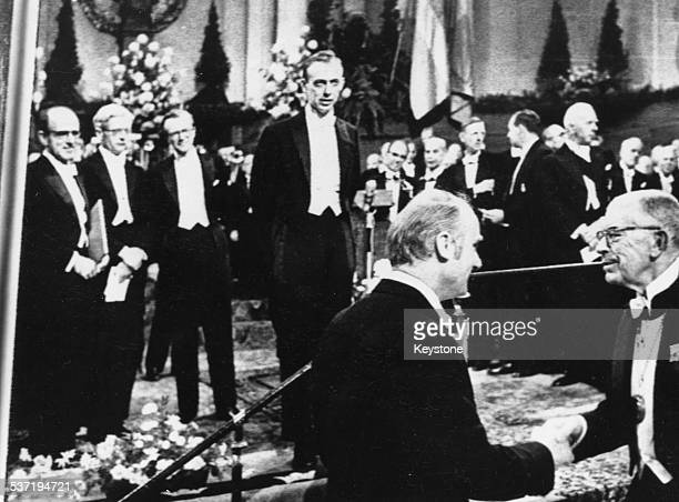 James Watson and Francis Crick accepting their Nobel Prize for the discovery of the structure of DNA Norway 1962