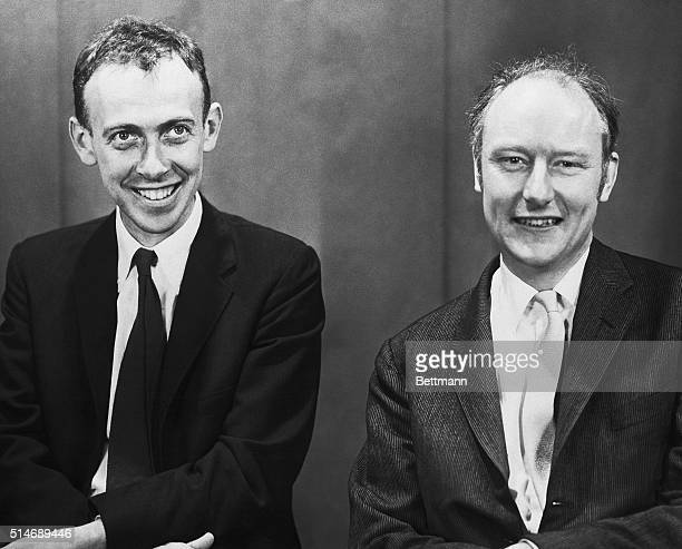 1959 James Watson and Francis Crick crackers of the DNA code Photo taken on occasion of the Massachusetts General Hospital lectures SEE