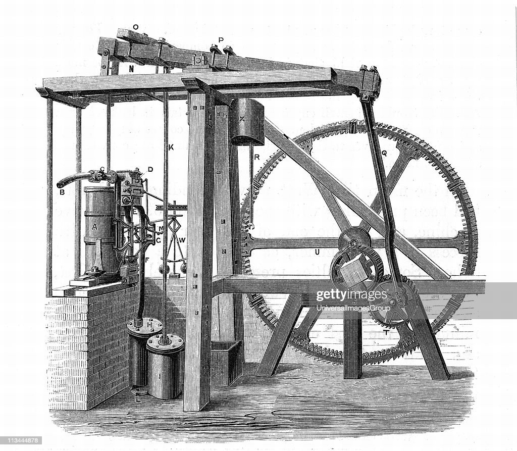 James Watt's (1736-1819) prototype steam engine 'Old Bess' c1778. In this engine, which was erected at the Soho works, Birmingham, England, in 1777-1778, reciprocating motion was turned into rotary motion by a sun-and-planet gear train. From Lives of Boulton and Watt, Samuel Smiles, (London, 1861). Engraving.