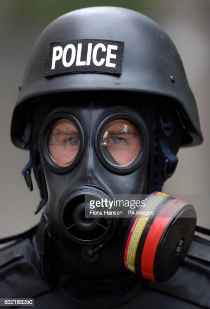 PC James Wharton wearing a Civilian Responder suit worn by police in situations where there is believed to be a chemical threat with addition of a...