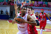 James White #4 of Cedevita Zagreb in action during the 20152016 Turkish Airlines Euroleague Basketball Top 16 Round 8 game between Lokomotiv Kuban...