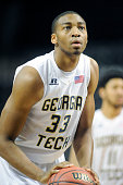 James White of the Georgia Tech Yellow Jackets takes a foul shot during game on of the NIT Season TipOff college basketball tournament at Barclays...