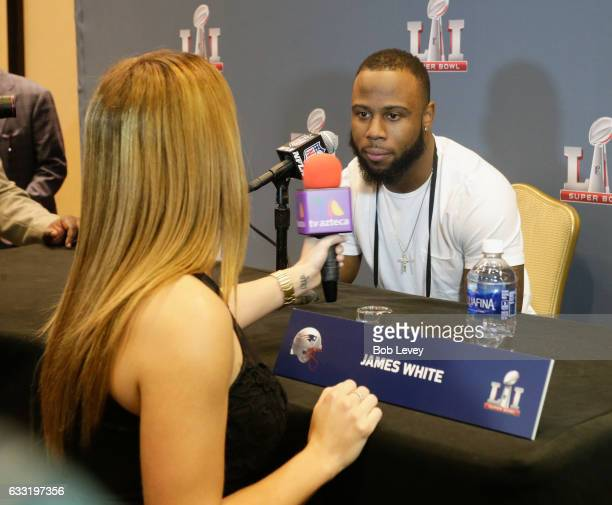 James White of the New England Patriots answers questions during Super Bowl LI media availability at the JW Marriott on January 31 2017 in Houston...