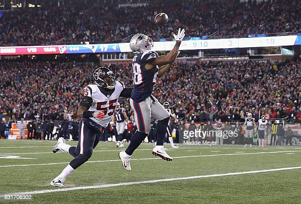 James White of the New England Patriots catches a pass for a touchdown in the third quarter against the Houston Texans during the AFC Divisional...