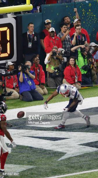 James White of the New England Patriots celebrates after rushing for a 1yard touchdown during Super Bowl 51 against the Atlanta Falcons at NRG...