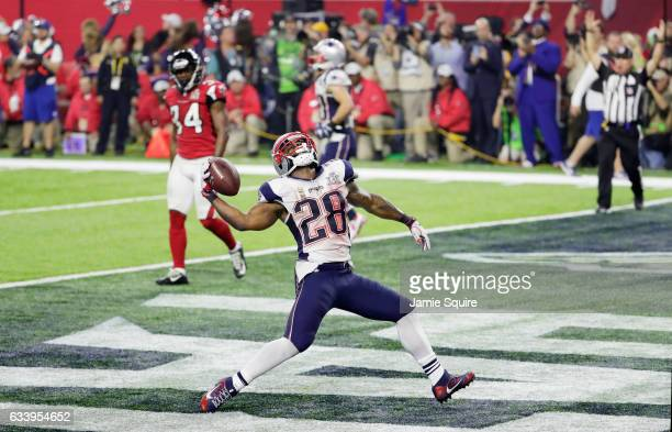 James White of the New England Patriots celebrates rushing for a 1yard touchdown in the fourth quarter against the Atlanta Falcons during Super Bowl...