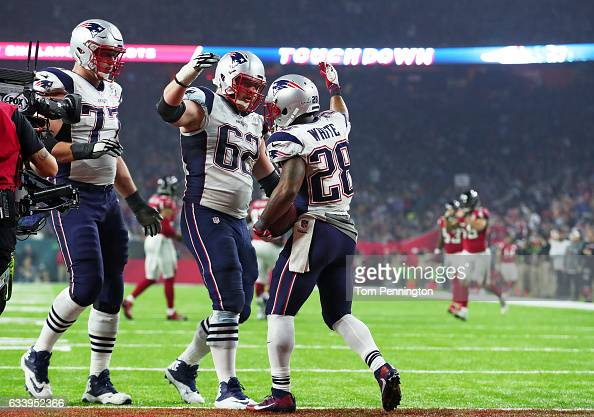 James White of the New England Patriots reacts after a 5 yard touchdwon against the Atlanta Falcons in the third quarter during Super Bowl 51 at NRG...