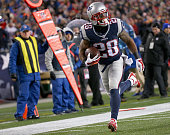 James White of the New England Patriots scores a touchdown during the second quarter against the Buffalo Bills to score a touchdown during the second...