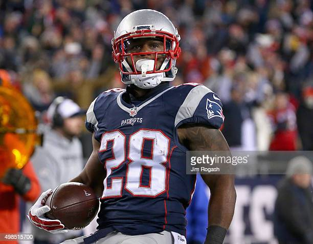 James White of the New England Patriots scores a touchdown during the second quarter against the Buffalo Bills at Gillette Stadium on November 23...