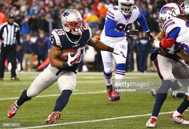 James White of the New England Patriots scores a touchdown during the third quarter against the Buffalo Bills at Gillette Stadium on November 23 2015...