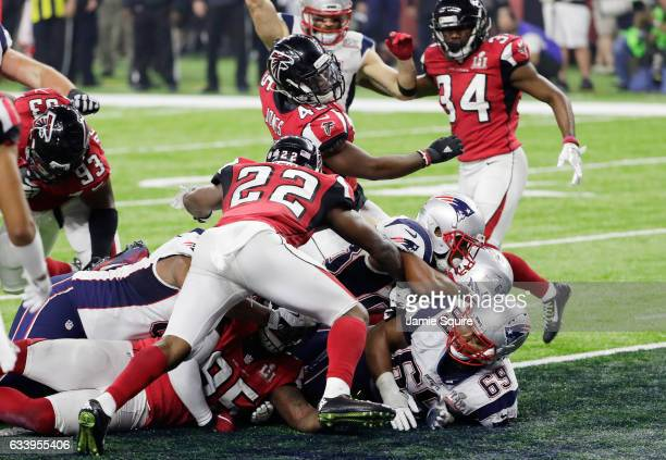 James White of the New England Patriots scores a two point conversion against the Atlanta Falcons during Super Bowl 51 at NRG Stadium on February 5...