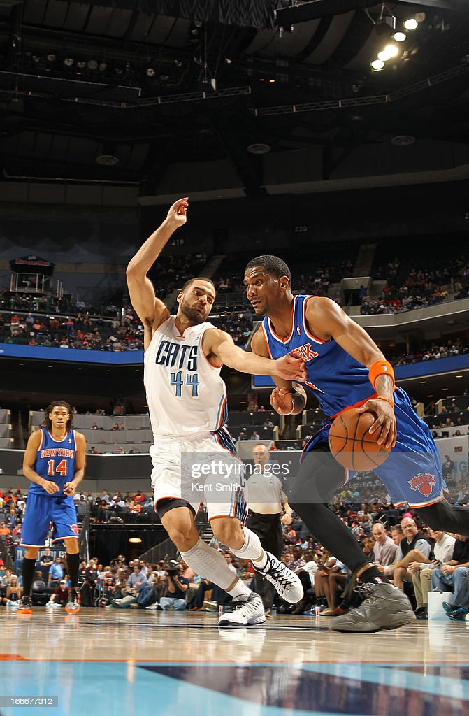 James White #4 of the New York Knicks drives against Jeffery Taylor #44 of the Charlotte Bobcats at the Time Warner Cable Arena on April 15, 2013 in Charlotte, North Carolina.