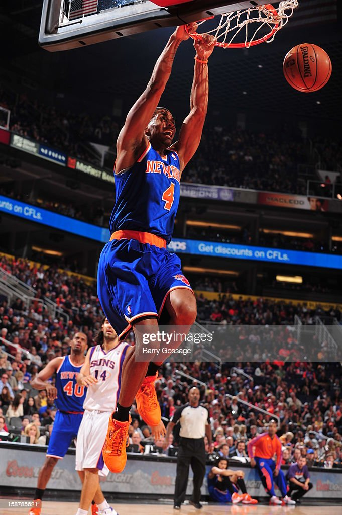 James White #4 of the New York Knicks dunks the ball against the Phoenix Suns on December 26, 2012 at U.S. Airways Center in Phoenix, Arizona.