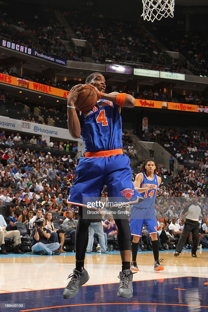 James White #4 of the New York Knicks grabs the rebound against the Charlotte Bobcats at the Time Warner Cable Arena on April 15, 2013 in Charlotte, North Carolina.