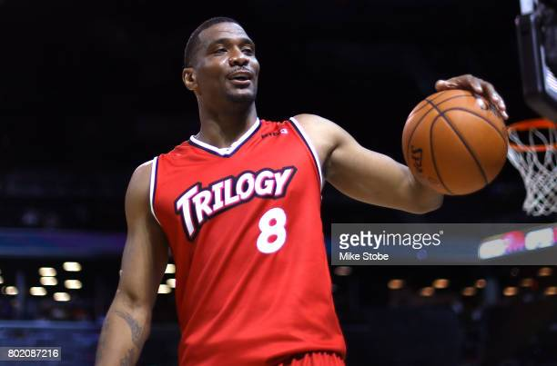 James White of Trilogy reacts in the game against TriState during week one of the BIG3 three on three basketball league at Barclays Center on June 25...