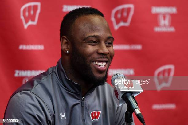James White running back for the New England Patriots and former Wisconsin football player speaks to the media prior to a game between the Wisconsin...