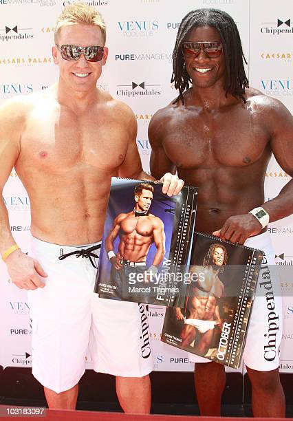 James Wilcox and Chaun Thomas attend the debut of the Chippendales 2010/2011 calendar at Venus Pool Club on July 31 2010 in Las Vegas Nevada