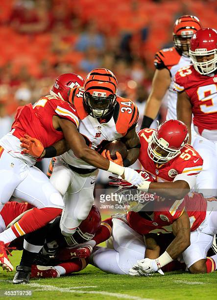 James Wilder Jr #34 of the Cincinnati Bengals carries the ball during the second half of the preseason game against the Kansas City Chiefs at...