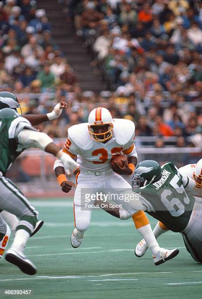 James Wilder of the Tampa Bay Buccaneers carries the ball against the Philadelphia Eagles during an NFL football game October 25 1981 at Veteran...