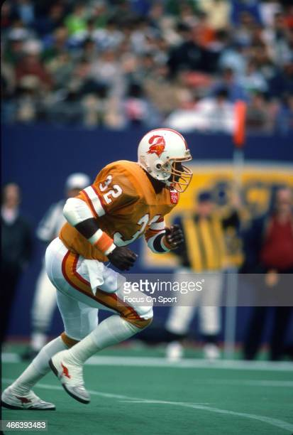 James Wilder of the Tampa Bay Buccaneers in action against the New York Jets during an NFL football game November 17 1985 at The Meadowlands in East...