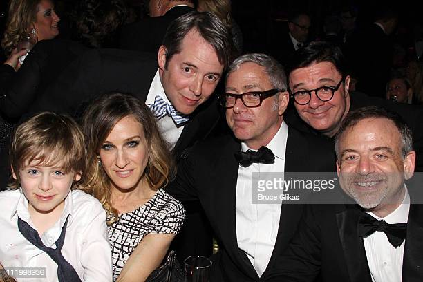 James Wilkie Broderick Sarah Jessica Parker Matthew Broderick Scott Wittman Nathan Lane and Marc Shaiman pose at the after party for the Broadway...