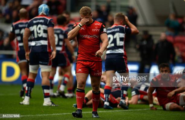 James Williams of Hartpury College cuts a dejected figure during the Greene King IPA Championship match between Bristol Rugby and Hartpury College at...