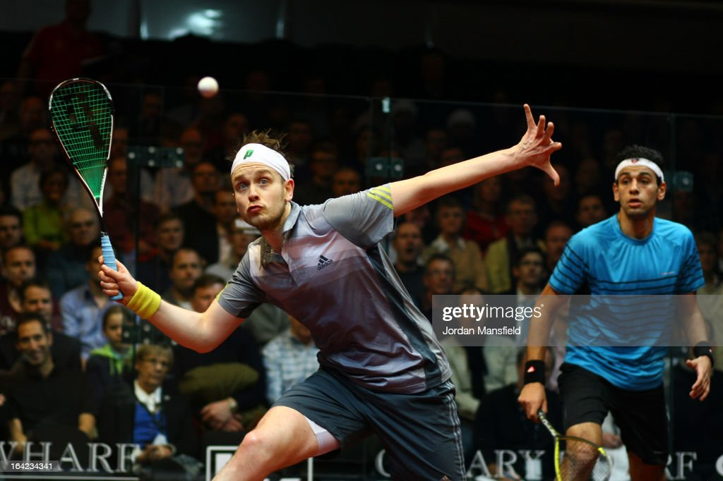 James Willstrop of England in action against Mohamed El Shorbagy of Egypt during their semi-final match in the Canary Wharf Squash Classic on March 21, 2013 in London, England.