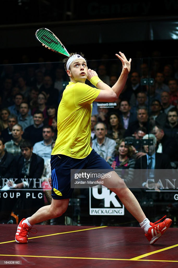 James Willstrop of England in action against Peter Barker of England (not pictured) in the final of the Canary Wharf Squash Classic on March 22, 2013 in London, England.