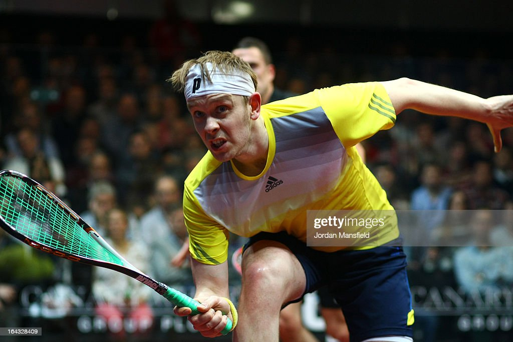James Willstrop of England in action against Peter Barker of England in the final of the Canary Wharf Squash Classic on March 22, 2013 in London, England.