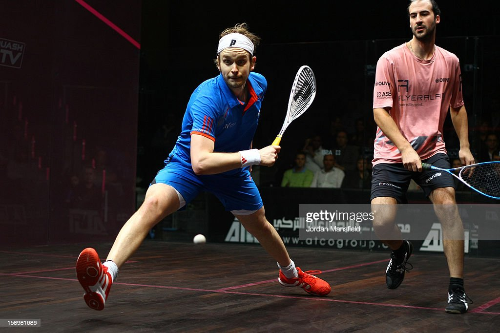 James Willstrop of England in action against Simon Rosner of Germany during Day 3 of the ATCO World Series Squash Finals played at Queens Club on January 4, 2013 in London, England.