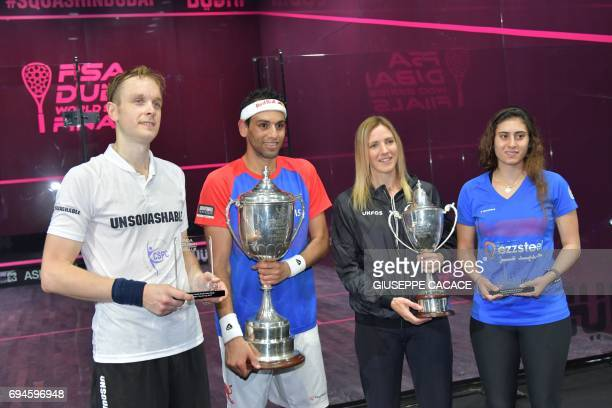James Willstrop of England winner Mohamed El Shorbagy of Egypt winner Laura Massaro of England and Nour El Sherbini of Egypt pose on the podium of...