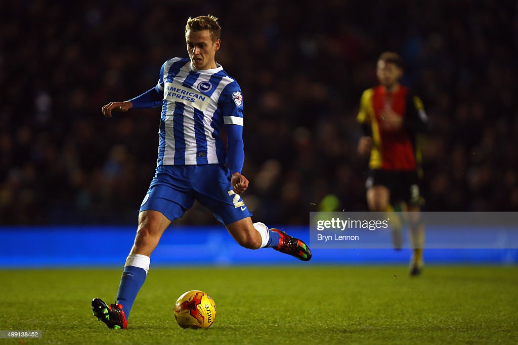 James Wilson of Brighton & Hove Albion in action during the Sky Bet Championship match between Brighton and Hove Albion and Birmingham City on November 28, 2015 in Brighton, United Kingdom.