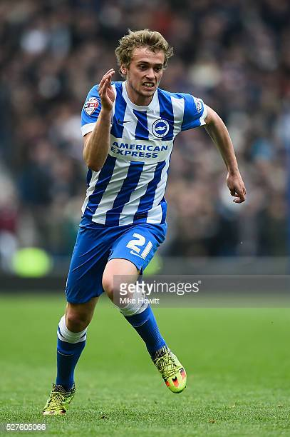 James Wilson of Brighton in action during the Sky Bet Championship match between Brighton and Hove Albion and Derby County at the Amex Stadium mhon...