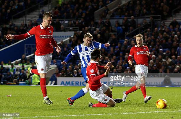 James Wilson of Brighton scores the teams first goal during the Sky Bet Championship match between Brighton and Hove Albion and Charlton Athletic at...