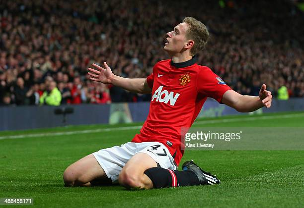 James Wilson of Manchester United celebrates scoring the second goal during the Barclays Premier League match between Manchester United and Hull City...