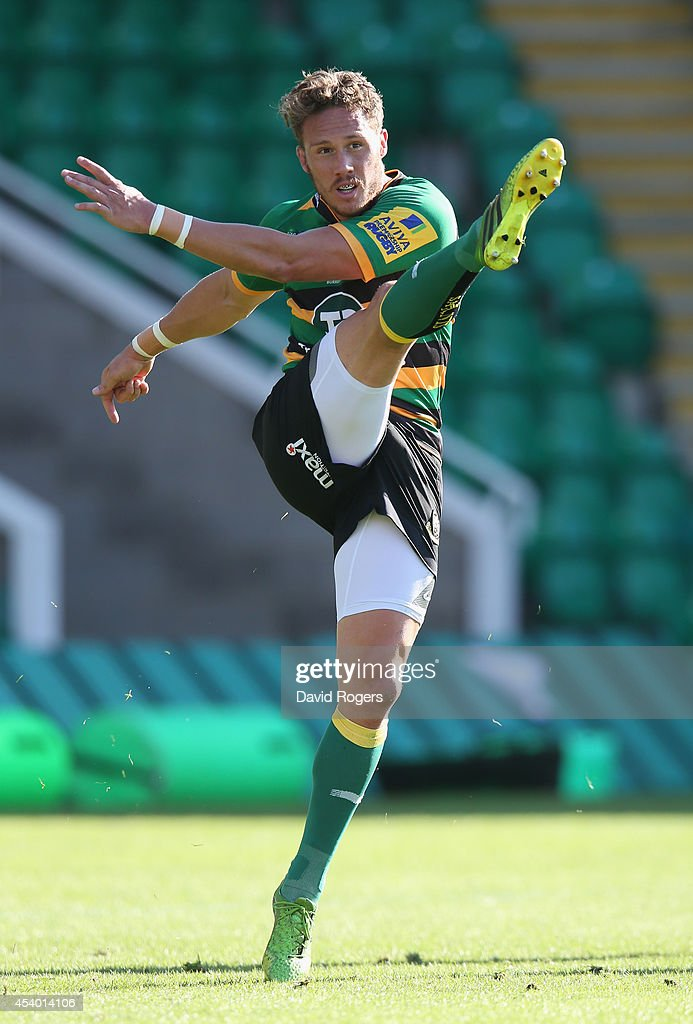 James Wilson of Northampton kicks the ball upfield during the pre season friendly match between Northampton Saints and Moseley at Franklin's Gardens on August 23, 2014 in Northampton, England.