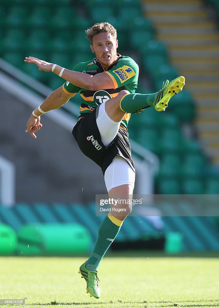 <a gi-track='captionPersonalityLinkClicked' href=/galleries/search?phrase=James+Wilson+-+Rugby+Player&family=editorial&specificpeople=13770852 ng-click='$event.stopPropagation()'>James Wilson</a> of Northampton kicks the ball upfield during the pre season friendly match between Northampton Saints and Moseley at Franklin's Gardens on August 23, 2014 in Northampton, England.