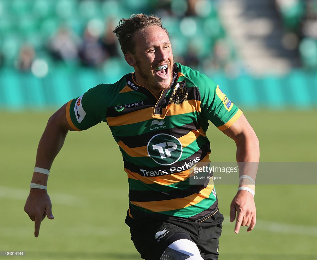 <a gi-track='captionPersonalityLinkClicked' href=/galleries/search?phrase=James+Wilson+-+Rugby+Player&family=editorial&specificpeople=13770852 ng-click='$event.stopPropagation()'>James Wilson</a> of Northampton looks on during the pre season friendly match between Northampton Saints and Moseley at Franklin's Gardens on August 23, 2014 in Northampton, England.